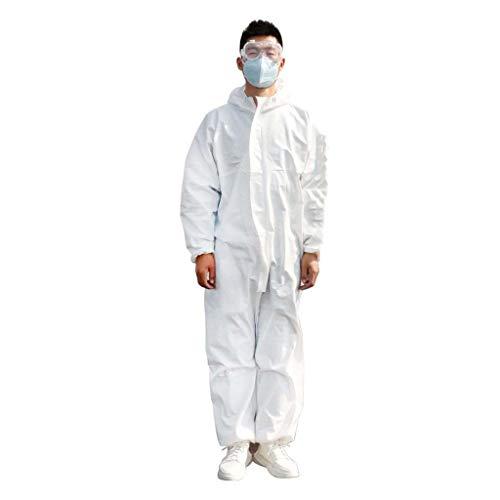 JXS Wegwerpbare witte overall pak - Antibacteriële herbruikbare isolatiespuit - Stofvrije werkkleding - Niet-geweven stof voorkomt vloeibaar splijten