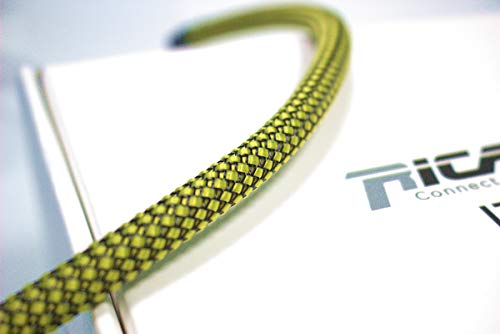 Ricable Custom YB08/10 - Amarillo/Negro 10 MT - Funda Trenzada expandible para Cable 4-10 mm