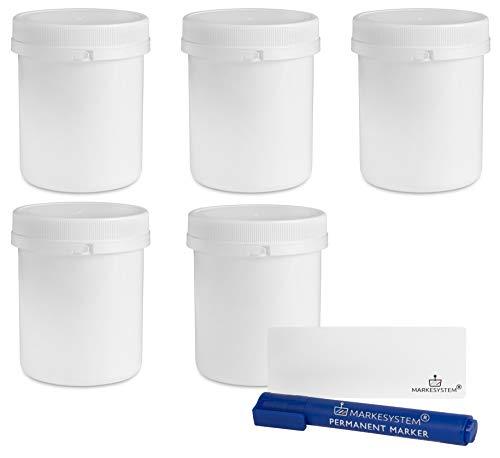 MARKESYSTEM - Tarro blanco 500 ml (5 Tarros) con disco y precinto de seguridad - Contenedor de plástico con tapa de rosca - Envase uso Alimentario, Cosmético e Industrial + Kit etiquetado