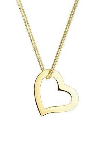 Elli PREMIUM Halskette Damen mit Anhänger Herz Liebe Filigran in 375 Gelbgold