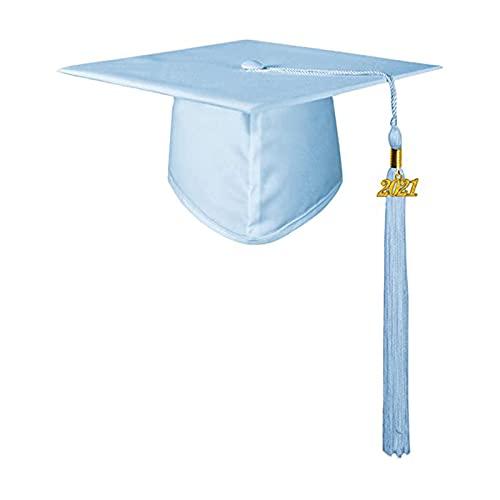 Moares Gorras De Graduación, Gorro De Graduación De Estudiante De Poliéster Decorativo Unisex Con Borlas Para Suministros De Fiesta De Ceremonia De Graduación De Soltero Cielo azul