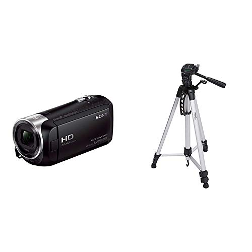 Sony HDR-CX405 Full HD Camcorder (30-fach opt. Zoom, 60x Klarbild-Zoom, Weitwinkel mit 26,8 mm, Optical Steady Shot) schwarz & Amazon Basics 60-Inch Lightweight Tripod with Bag