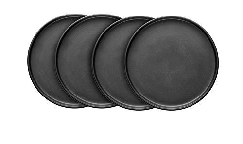 Stone Lain Coupe Stoneware Set of 4, Dinner Plates, Black Matte