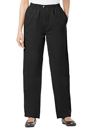 Woman Within Women's Plus Size Petite Elastic-Waist Cotton Straight Leg Pant - 22 WP, Black