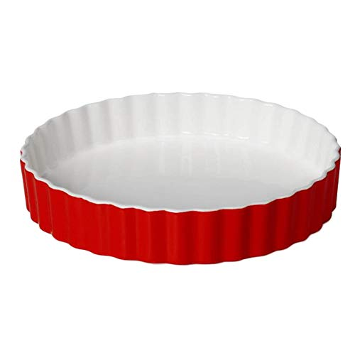 Cuasting 8 pulgadas de cerámica redonda queso horneado plato de pizza bandeja de horno platos occidentales horno tazón alta temperatura 600C-rojo