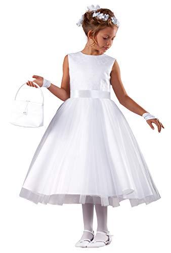 deine-Brautmode Kommunionkleid Spitze Tüll 3/4 lang Kommunion Kleid Lilly 128