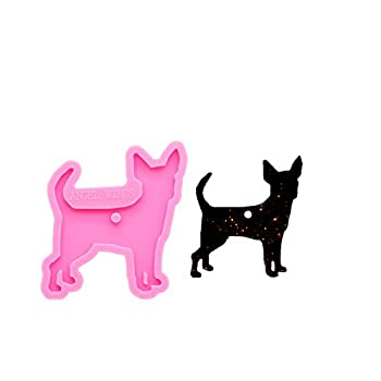 Angel Wings Shiny Glossy Chihuahua Dog Shape Epoxy Craft Keychain Silicone Mould Animal Style Polymer Clay Mold DIY Necklace Epoxy Resin Jewelry Silicone Mold Resin Crafting Molds