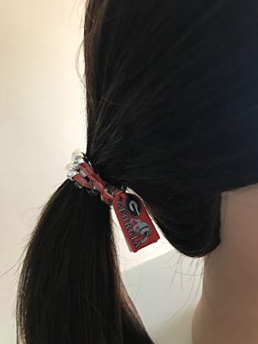 Georgia Bulldogs football secure sports hair tie hair cord hair elastic for all pony tail types messy buns foe hair art