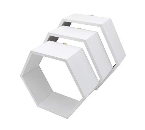 MadeForHome Caja de madera blanca con forma de hexágono, estantes en forma de panal, juego de 3 sin fondo, perchas unidas a estantes, tornillos y anclajes incluidos