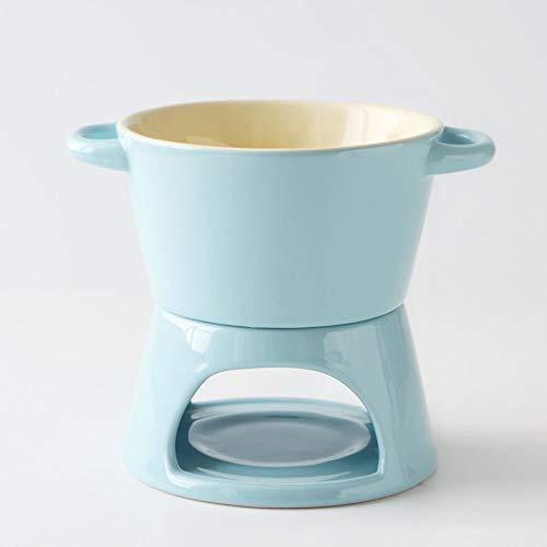 YEZIN Decoración del hogar, El Chocolate de cerámica Fondue de Queso Pot con el Soporte de cerámica y Tres bifurcaciones Fondue de Chocolate Utilidad for la Cocina casera (Color : Blue)