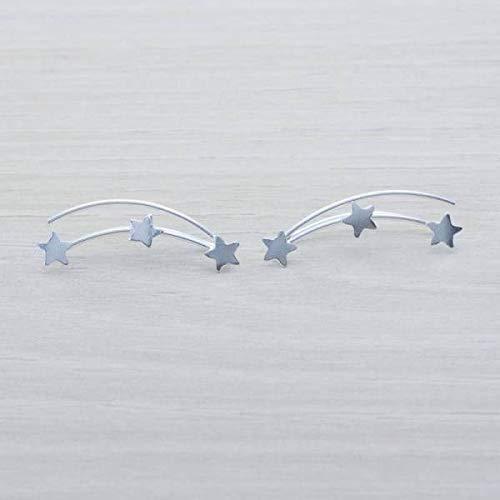 Pendientes trepadores Estrellas Plata de Ley - Pendientes climbers plata