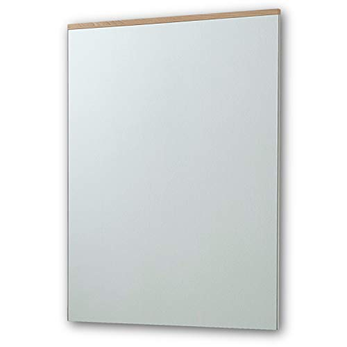 RENO Wandspiegel Weiss Hochglanz / Buche - hochwertiger, pflegeleichter Spiegel für Flur & Garderobe - 65 x 88 x 4 cm (B/H/T)