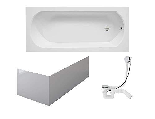 VBChome Badewanne 160x75 cm Acryl Schürze Siphon Wanne Rechteck Weiß Design Modern Ablaufgarnitur in Chrom Viega Simplex