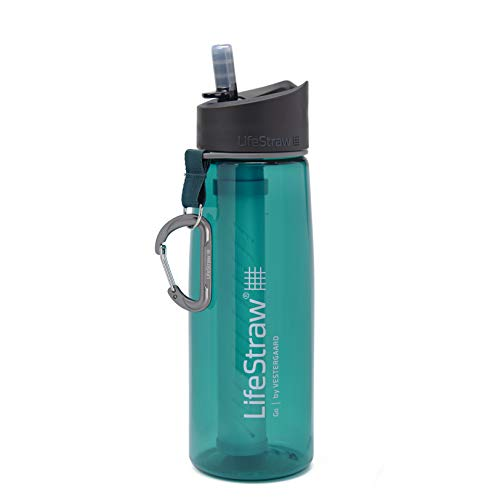 LifeStraw Go Water Filter Bottle with 2-Stage Integrated Filter Straw for Hiking, Backpacking, and Travel, Teal