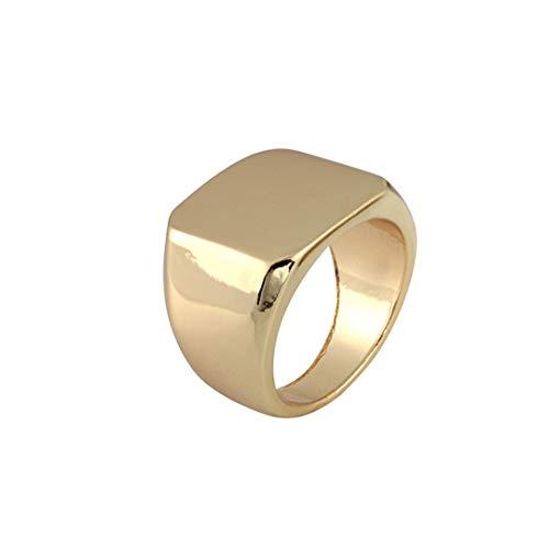 DJDLNK Eenvoudige zwarte gouden zilveren vierkante ring voor mannen, breedte, zegel, gepolijste vingerringen, punkring, sieraad