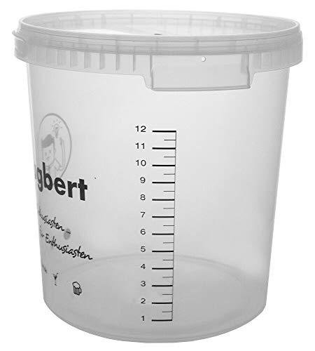 HUGBERT Weinset Nr 2, 30/33 L, Weinhefe, Gärbehälter ohne Bohrung + Deckel ohne Bohrung, Gärröhrchen, Dichtgummi, Vinometer + GRATIS