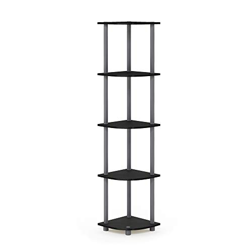 Furinno Turn-N-Tube 5 Tier Corner Shelf, Black/Grey