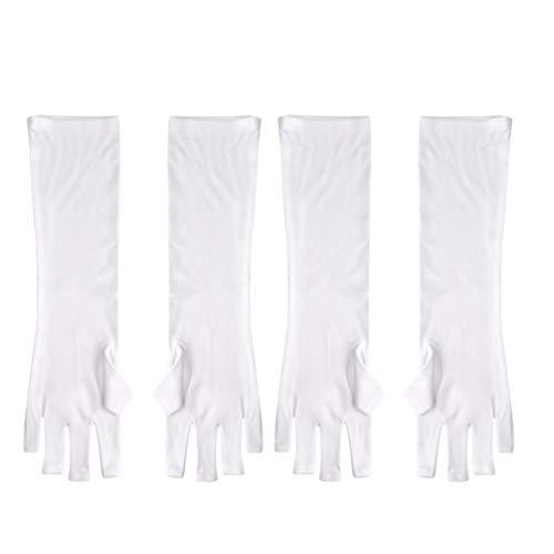 Lurrose 2 Paar UV-Schutzhandschuhe Maniküre Anti-Block UV-Strahl Fingerloser Handschuh Schützen Die Hände vor UV-Licht Oder Lampe (Lang)