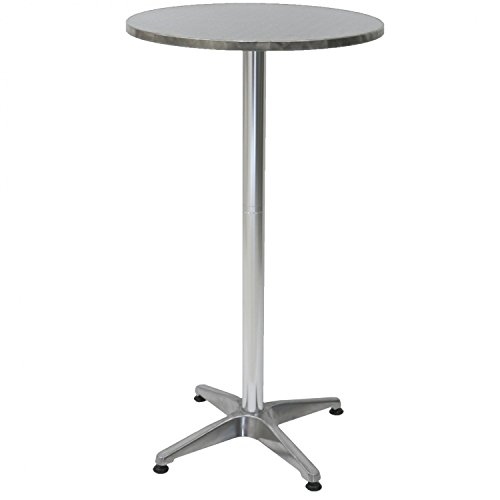 Oypla 1.1m Aluminium Bistro Table Bar Pub Cafe Party Adjustable Height