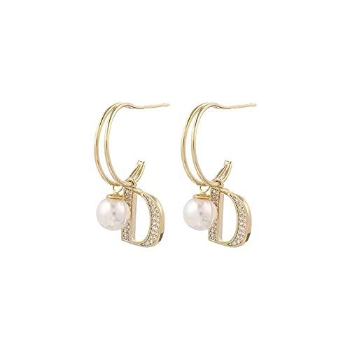 925 aguja de plata letra D pendientes de perlas pendientes de temperamento de moda pendientes pendientes personalizados
