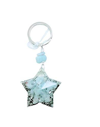 Floresyabejas Llavero de orgón en forma de estrella de 5 puntas con calcedonia, llavero de orgón, llavero de calcedonia, llavero de estrella