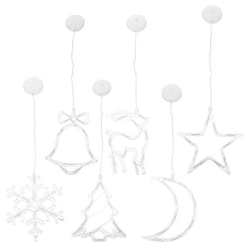 NUOBESTY 6Pcs Navidad Cortina Luz Ventosa Campana Árbol Estrella Luna Eik Ornamento...