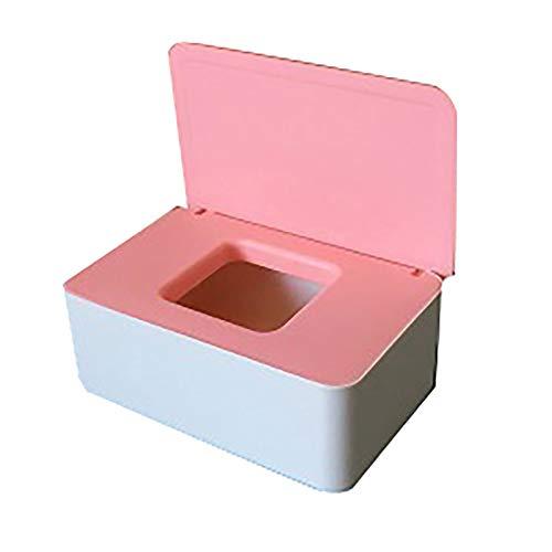 JIAOAO 1 caja de pañuelos húmedos de color blanco y rosa para el hogar, a prueba de polvo, caja de almacenamiento de escritorio, caja sellada con tapa.