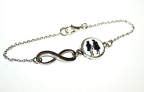 Große und kleine Schwester - Freundschafts Scherenschnitt Infinity Armband silber,