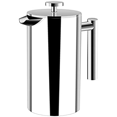 Utopia Kitchen French Coffee Press - Double Walled 32 oz Espresso & Tea Maker - 100% Stainless Steel