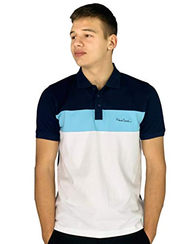 Pierre Cardin Hombre 100% Algodón Polo de Rayas Pique con Bordado de Firma (Large, Navy/Light Blue)