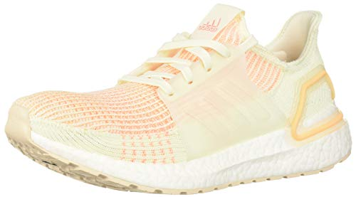 adidas Women's UltraBOOST 19 Running Shoe, Off White/Off White/Glow Orange, 6 M US