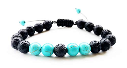 Adjustable Lava Rock Stone Essential Oil Anxiety Diffuser Bracelet Unisex with Turquoise - Meditation,Relax,Healing,Aromatherapy(Howlite - Adjustable)