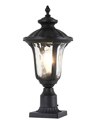 GYDZ Outdoor Pillar Lights, Outdoor Post Light with Pier Mount Adapter, Vintage Post Lamp in Matte Black Finish with Hammer Glass Shade,Aluminum Housing Rustproof for Front Door, Garden, Back Yard