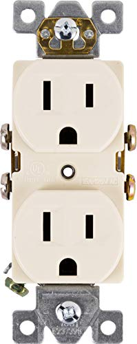 GE 42157, Light Almond, Ultra Pro Duplex Heavy-Duty Receptacle, 2, Wall Outlet, Reinforced Yoke, Self-grounding Clip, 3 Prong, Supports 15A, UL Listed, 42478