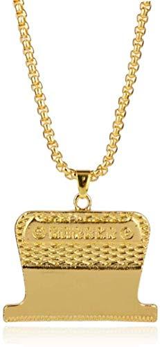 LJ Anhänger Halskette Schmuck Rasierklingen Anhänger Friseur Shop Anhänger Halskette Friseur Werkzeuge Schmuck Kette Halsketten für Männer Modeschmuck-Gold