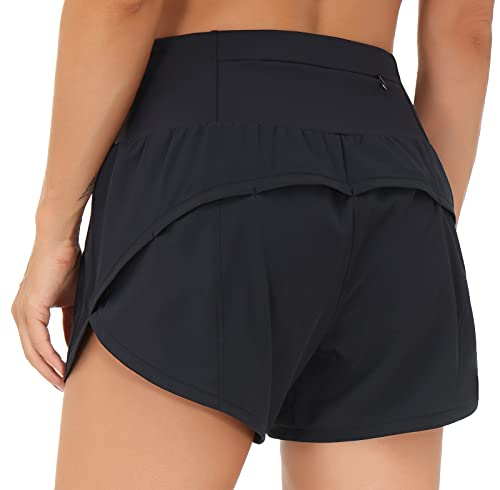 THE GYM PEOPLE Womens High Waisted Running Shorts Quick Dry Athletic Workout Shorts with Mesh Liner Zipper Pockets (Black, Medium)