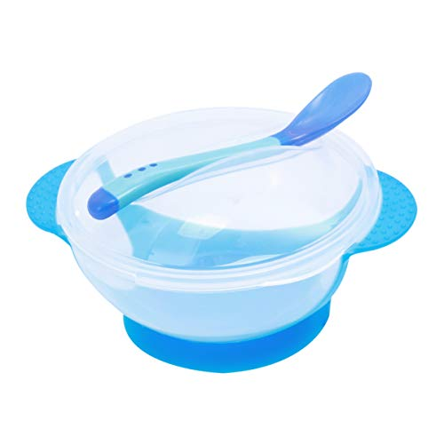 TOYANDONA Baby Trainingsschüssel Rutschfeste Sichere Reis Abendessen Saugschüssel Teller Lebensmittelbehälter Geschirr Besteck mit Löffel für Baby Kleinkind Kleinkind (Blau)