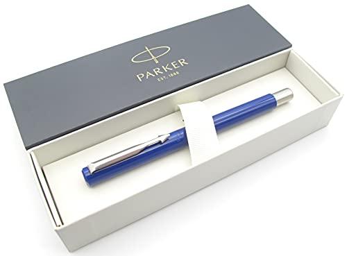Parker Vector Stylo plume Corps bleu avec garniture chromée Pointe fine Coffret cadeau
