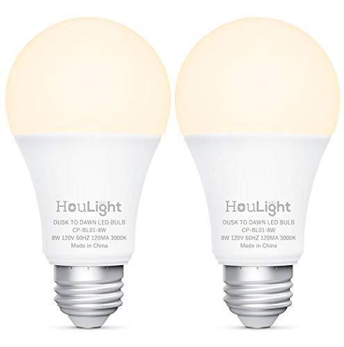 HouLight Dusk-to-Dawn 800 Lumen A19 LED Light Bulb, 60-Watt Equivalent, 8-Watt 3000K, Soft White, 2-Pack, UL Certified, Upgraded Sensing Technology