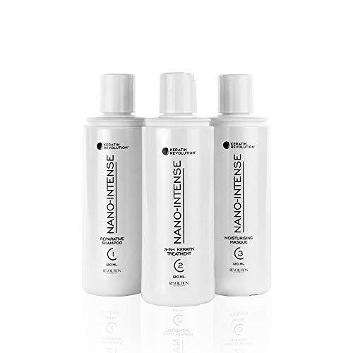 Keratin Revolution Nano-Intense Stylist Kit incl. Champú reparador, 120 ml, tratamiento de queratina 3 en 1, 120 ml, mascarilla hidratante 120 ml y set de caja pequeña