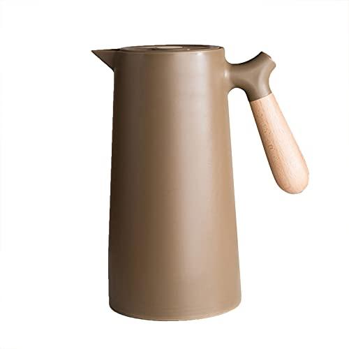 Aislamiento Kettle Aislamiento Hogar Pot Cristal Liner Thermos Thermos Thermos Kettle Coffee Pot 1L brown