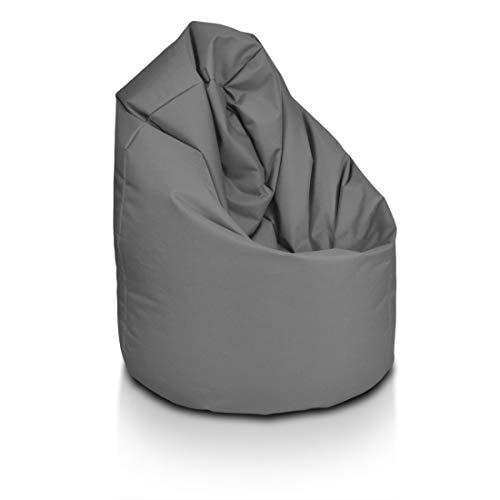Bepouf Poltrona Sacco Puf Pouf Dimensioni 110x70 Poliestere Pieno (Grigio, Media)