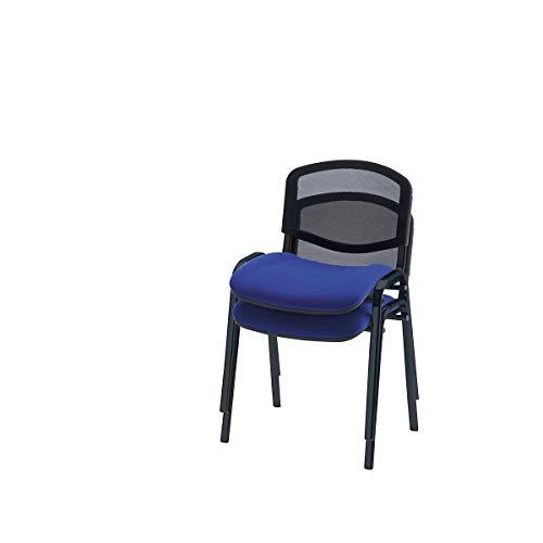 Siège visiteur empilable - dossier résille, piétement noir - habillage anthracite, lot de 4 - Chaise de réunion Chaise empilable Chaise visiteur Chaise visiteurs Chaises de réunion Chaises