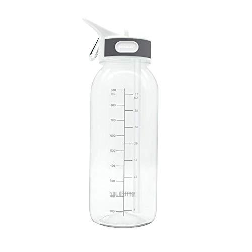 litulituhallo Botella de agua deportiva con pajita de 1 litro, duradera, a prueba de fugas, libre de Bpa, botella de gotero (1 l), transparente
