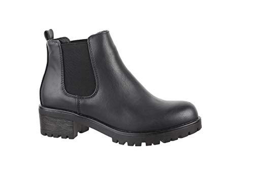 Elara Damen Stiefeletten Chelsea Boots Chunkyrayan P KA575SL-Schwarz-38