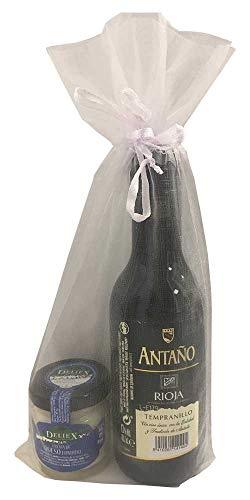 Detalle de bautizo con vino miniatura Antaño Rioja con un tarro de crema de queso para invitados (Pack 24 ud)