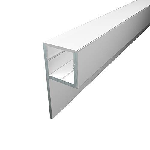 MOLA-UP (MO-109) Fliesenprofil Aluminium 1 x 2m eloxiert | Fliesen-Abschlussleiste für Led Streifen bis 1cm Breite | U-Profil Fliesenschiene + Acryl Abdeckung milchig weiß (opal) |Aluprofil belastbar