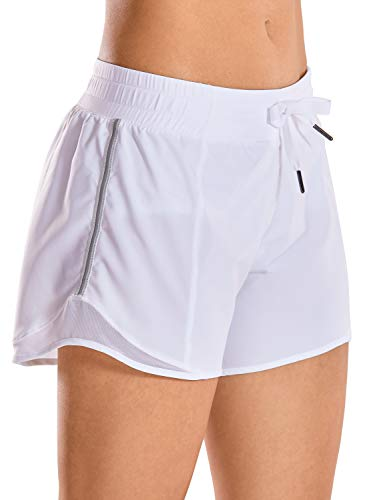 CRZ YOGA Quick-Dry Loose Running Shorts Women Sports Workout Shorts Gym Athletic Shorts with Pocket -4 Inches White 4'' - R404 Large
