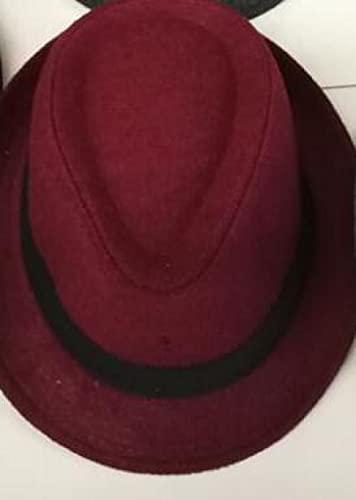 Sonnenhut Strohhut Hut Damen Hut Herren Wolle Panama Strohhut Warmer Jazz Hut Mode Einfacher Hut-Wein_Kostenlos_Größe