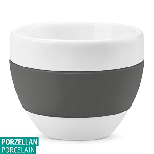 Koziol Cappuccino-Tasse 100ml, Thermoplastischer Kunststoff + Porzellan, Cotton White/deep Grey